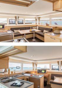 Salon eines Katamarans - komfortabel segeln