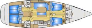 Grundriss Segel Yacht Einrümpfig