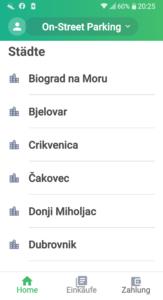 städteauswahl parkgebühren per app bezahlen kroatien