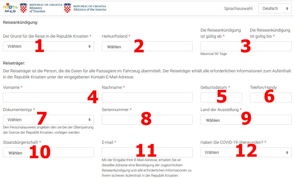 Entercroatia formular ausfüllen